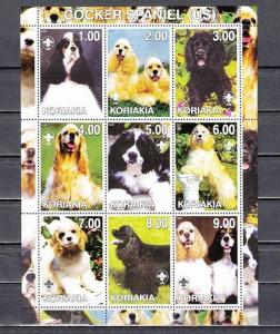Koriakia 2000 Russian Local. Cocker Spaniel sheet of 9.