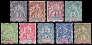French Polynesia Scott 1-5, 7-8, 12, 20(1892-1907) Mint/Used H F-VF, CV $88.40 B
