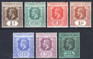Leeward Is 1931 1/4d-1s - DIE I - SG 81-87 Sc 61a-76a LMM/MLH Cat £170($220)