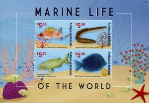 Antigua & Barbuda Fish Stamps 2021 MNH Marine Life World Eels Fishes Tang 4v M/S
