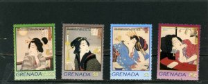 GRENADA 2003 JAPANESE PAINTINGS SET OF 4 STAMPS MNH