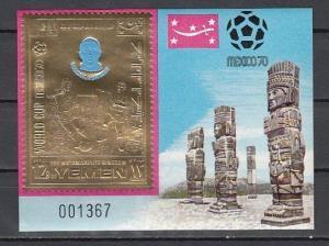 Yemen, Kingdom, Mi cat. 991, BL195. Sweden`s Soccer Player, Gold Foil s/sht.