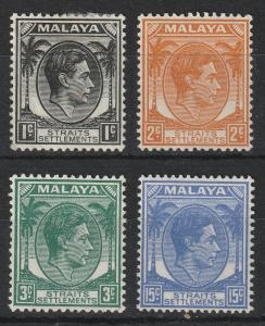 Malaya Straits Settlements 1937-41 KGVI 4V MH SG#278/294/295/298 CV£41 M1963