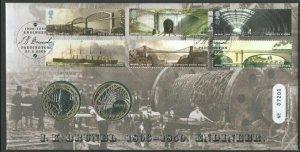 GB  BRUNEL 2006 ROYAL MINT FDC + 2 X £2 BRUNEL COINS UNC...................65500