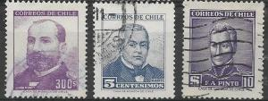 Chile SET 4, 3 Used Stamps 300 & 5 centestimos, and $10