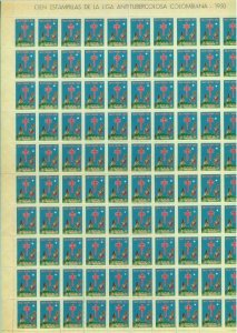 84267 - COLOMBIA - Benefical STAMPS - TUBERCULOSIS full sheet of 100! 1950
