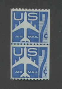1958 US Air Mail Coil Stamp #C52s Mint NH Very Fine Small Holes Joint Line Pair
