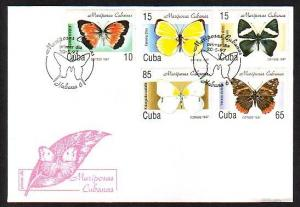 Caribbean Area, Scott cat. 3827-3831. Butterflies issue. First Day Cover. *