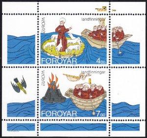 Faroe Islands 1994 MNH Sc #265a Sheet of 2 Voyages of St Brendan EUROPA