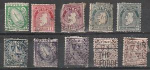 #65-68,71-2,74(Wmk 44),110 (Wmk 262) Ireland Used