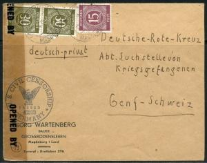 GERMANY ALLIED ZONE NUMERALS ON COVER US CIVIL CENSORSHIP MAGDEBURG TO GENEVA