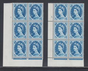 Great Britain SG 617d MNH. 1966 10p Wilding Cylinders no. 1, 1., Blocks of 6