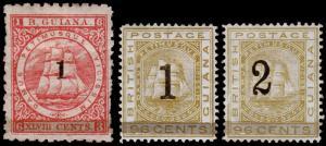 British Guiana Scott 92-94 (1881) Mint H F-VF, CV $85.00 M