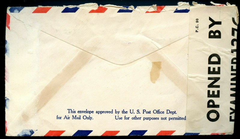 U.S. Scott 820 (2) Prexies on Censored Air Mail Cover to England from Maine