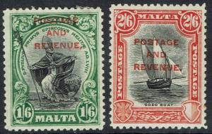 MALTA 1928 PICTORIAL OVERPRINTED POSTAGE AND REVENUE 1/6 AND 2/6