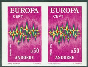 FRENCH ANDORRA : 1972 Europa. 50¢ value Imperforated pair. Very Fine, Mint NH.