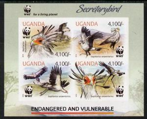 Uganda 2012 WWF - Secretary Bird imperf sheetlet containi...