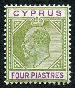 Cyprus SG54 4pi Olive-green and Purple Wmk Crown CA M/M