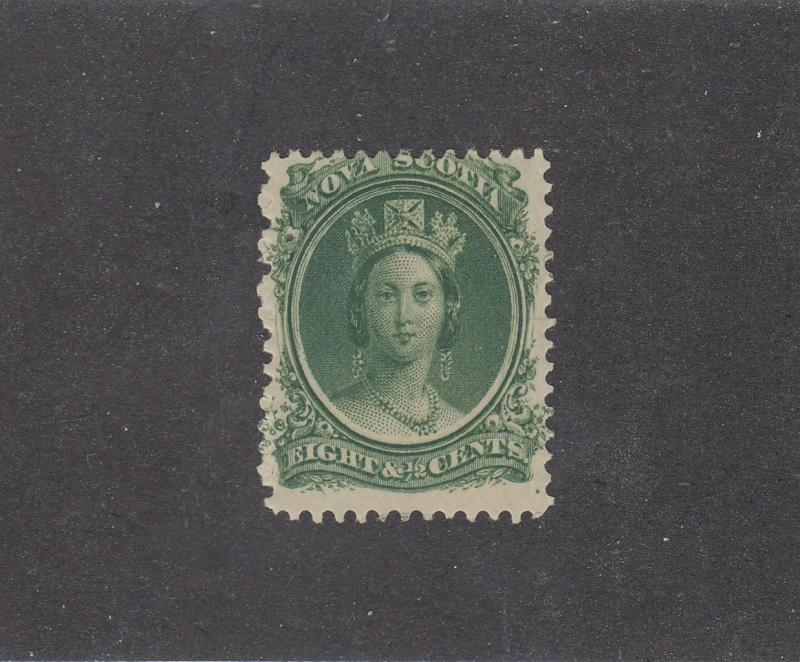 NOVA SCOTIA REF# KM3 # 11 VF-MH 81/2cts  QUEEN VICTORIA GRN CAT VALUE $20