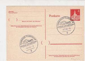 Germany 1962 Hannover Airport Aerolanes Slogan Cancel Stamps Card Ref 27923
