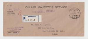 BARBADOS R.L.O. -USA 1951 OHMS REG COVER, ON POSTAL SERVICE H/S, AIR (SEE BELOW)