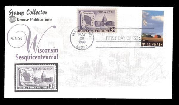 Wisconsin Sesquitennial #3206 Combo FDC