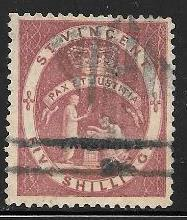 St. Vincent 54 used 2013 SCV $60.00 - 2 pin holes next to each other - 1957..