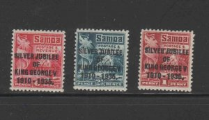 SAMOA #163-165  1935  OVERPRINT SILVER JUBILEE    MINT VF LH O.G