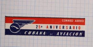 Via Airmail Etiquette Label seal ad Cubana airline 25th anniversary aviation air