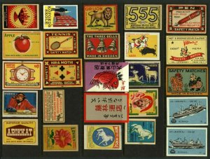 Swedish Asian Advertising Matchbox Labels - Various (25v) Fine Cinderellas