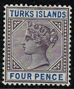 TURKS & CAICOS QV 1893-95 4d PURPLE & BLUE UNUSED(MH) SG71 Wmk.Cr CA P.14 VGC