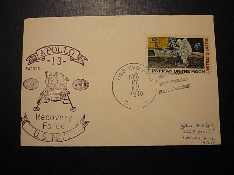 APOLLO 13 USS IWO JIMA RECOVERY FORCE AIRMAIL #C76 COVER - APR 17, 1970 POSTMARK