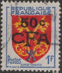ILE DE LA RÉUNION - 1955 Yv.320/Mi.385 50c CFA / 1fr Comtat Venaissin - Obl. TB