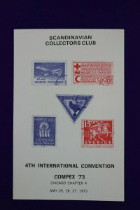 COMPEX 1973 convention Scandinavian Collectors Club Philatelic Souvenir card