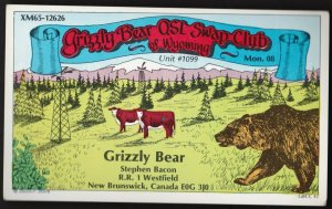 QSL QSO RADIO CARD  Grizzly Bear, New Brunswick, Canada (Q276)