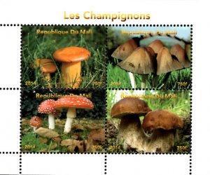 Mali 2014 Mushrooms Fungi 4v Mint Souvenir Sheet S/S. (#01)