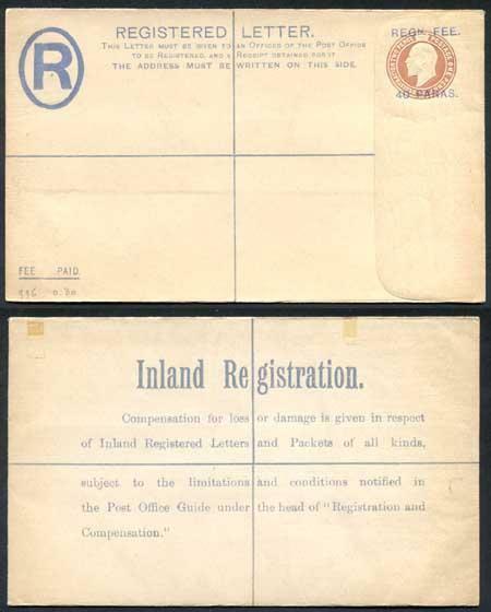 British Levant KEVII 40 Paras O/P on 3d Brown Registered Letter Mint