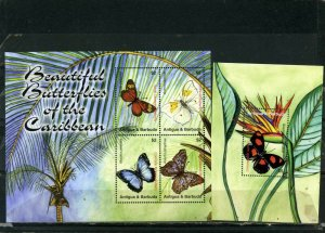 ANTIGUA & BARBUDA 2007 BUTTERFLIES SHEET OF 4 STAMPS & S/S MNH