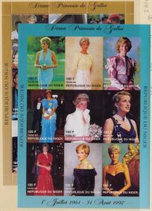 NIGER MNH Scott # 944-945 Princess Di Sheets - 945 Imperf (18 Stamps) -3 (1)