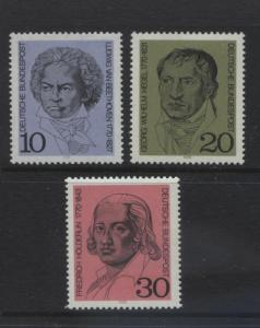GERMANY. -Scott 1014-16 - Beethoven -1970- MNH - Set of 3 Stamps