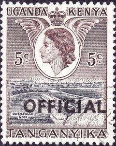 KENYA UGANDA TANGANYIKA 1959 QEII 5c Black & Deep-Brown SGO1 FU