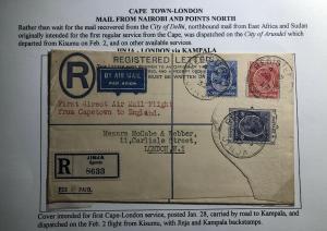 1932 Jinja Kenya KUT First Flight Cover FFC To London England Via Cape Town
