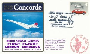 Cover UK Great Britain Concorde 1962 First Flight London Bordeaux G-BOAA Cook 2