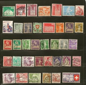 Switzerland Collection of 35 Different Old Stamps Used