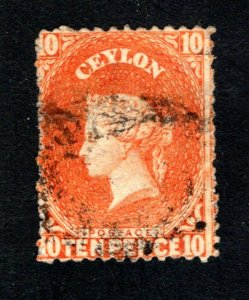 Ceylon #56,  F/VF, Used, Wmk. 1a, CV $70.00 ....  1290042