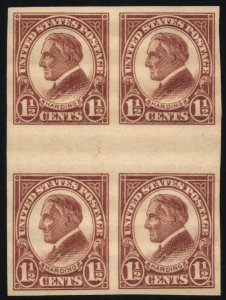 Scott #631 VF - 1 1/2c Yellow Brown- Harding - Block of 4 - MNH - 1926