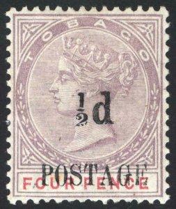 Tobago 1891 1/2d on 4d Lilac & Rose Revenue SG 33 Sc 31 LMM/MLH Cat £90($110)