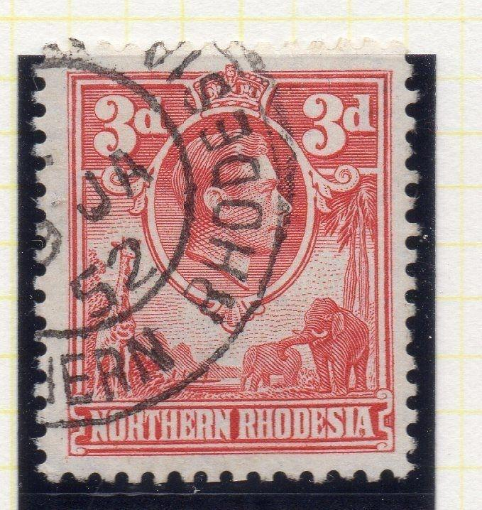 Northern Rhodesia 1950 Early GVI Issue Fine Used 3d. 107764