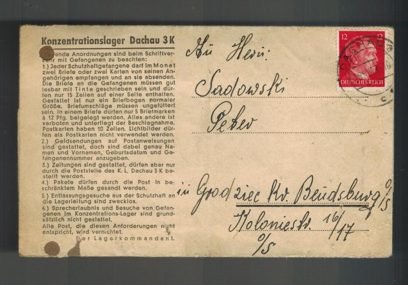 1943 Germany Dachau Concentration Camp KZ Letter Cover Peter Sadowski Bendsburg
