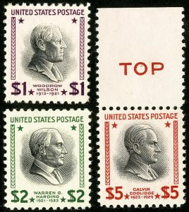 US Stamps # 832-4 MNH VF $1- to $5 Prexies